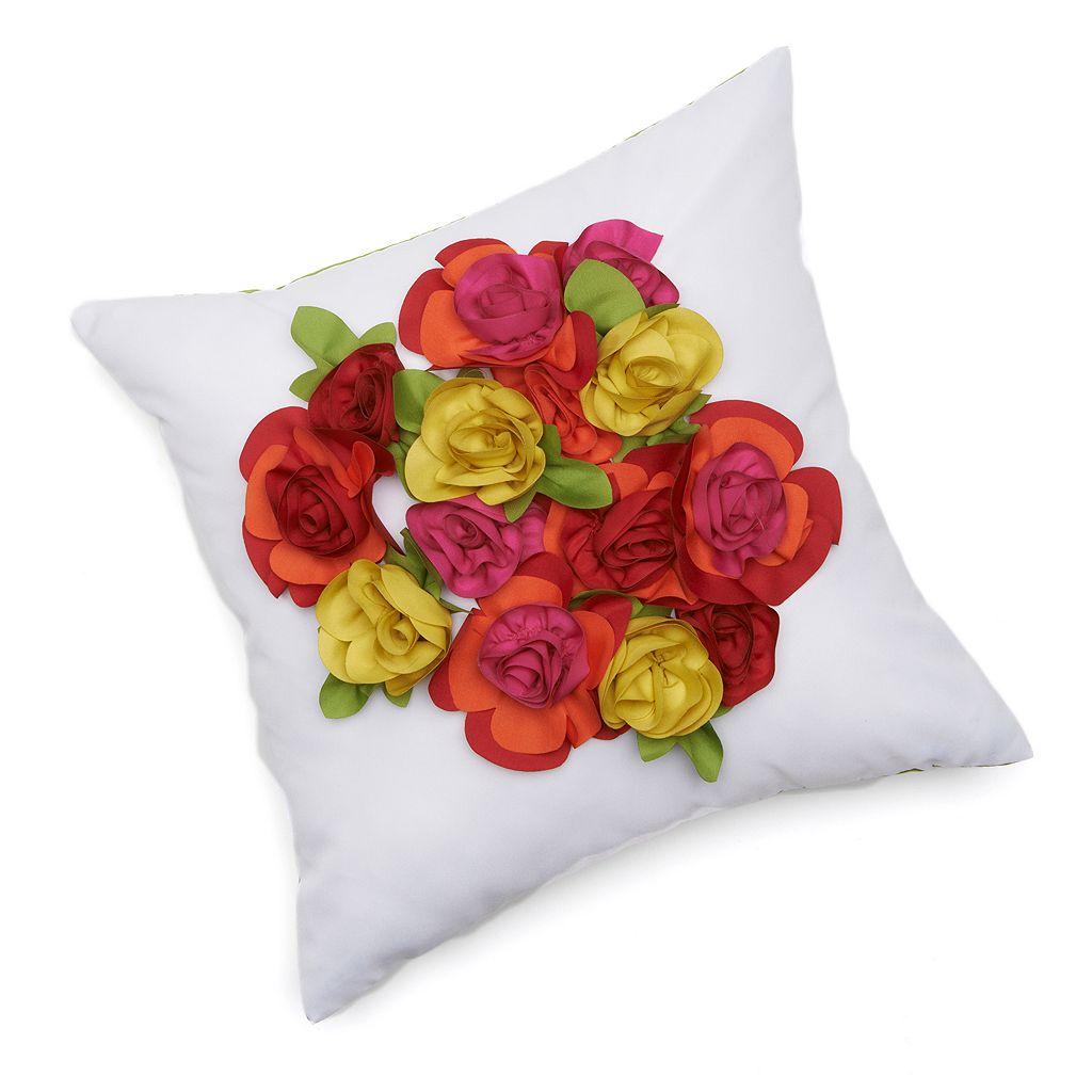 Edie, Inc. Dimensional Floral Indoor Outdoor Decorative Pillow