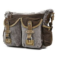 The Same Direction Two-Tone Leather Messenger Bag