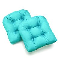 Edie Inc. Sonic Leaf Indoor Outdoor 2-pk. Quilted Contour Chair Pads