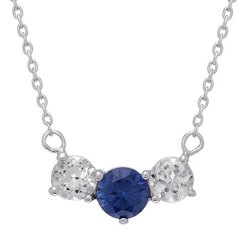 Sterling Silver Lab-Created Sapphire & White Topaz 3-Stone Necklace