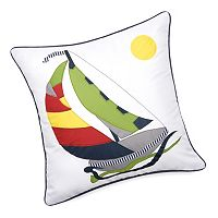 Edie, Inc. Sailboat Laser-Cut Indoor Outdoor Decorative Pillow