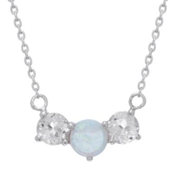 Sterling Silver Lab-Created Opal and White Topaz 3-Stone Necklace