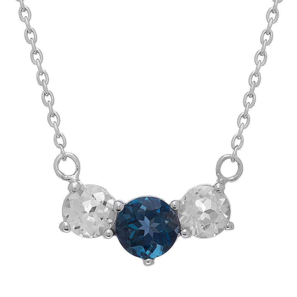 Sterling Silver London Blue Topaz & White Topaz 3-Stone Necklace