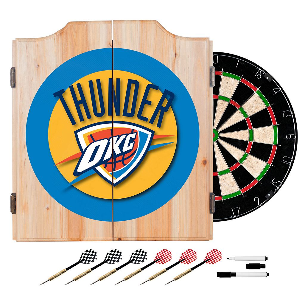 Oklahoma City Thunder Wood Dart Cabinet Set