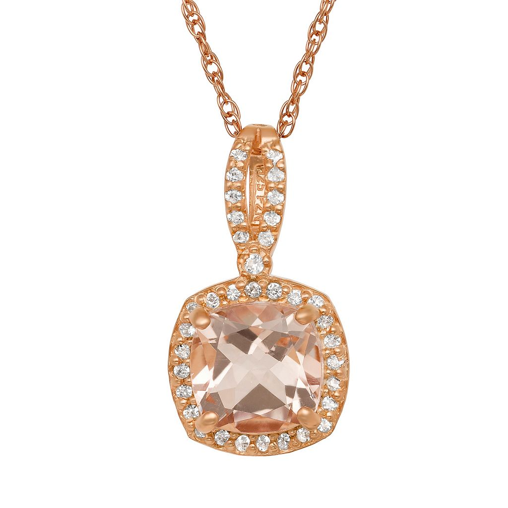 14k Rose Gold Over Silver Morganite Triplet & Lab-Created White Sapphire Square Halo Pendant