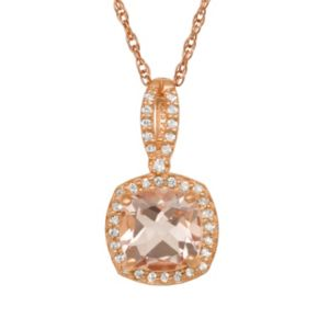 14k Rose Gold Over Silver Morganite Triplet and Lab-Created White Sapphire Square Halo Pendant