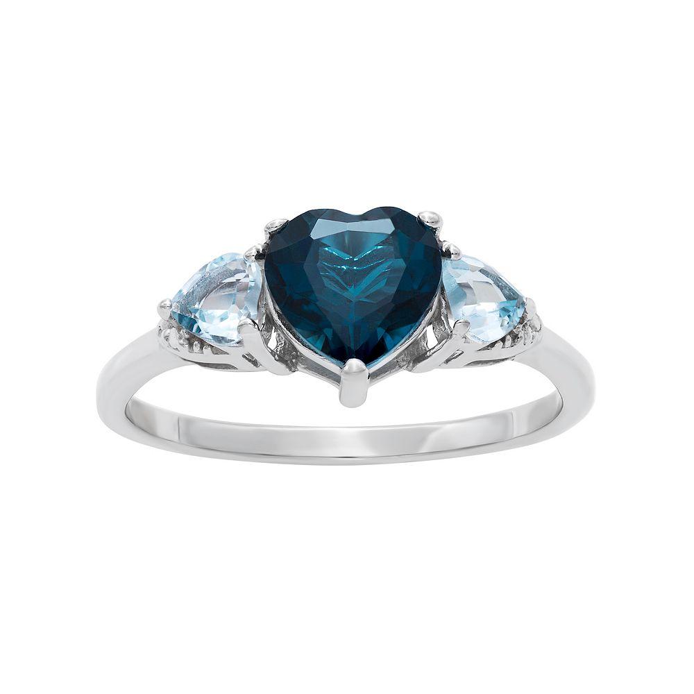 Sterling Silver London Blue Topaz & Blue Topaz Heart Ring