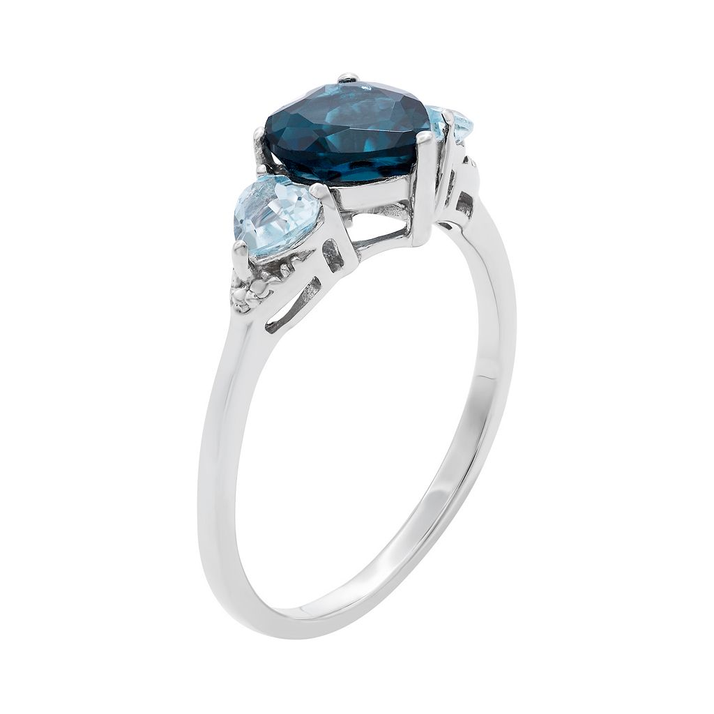 Sterling Silver London Blue Topaz and Blue Topaz Heart Ring