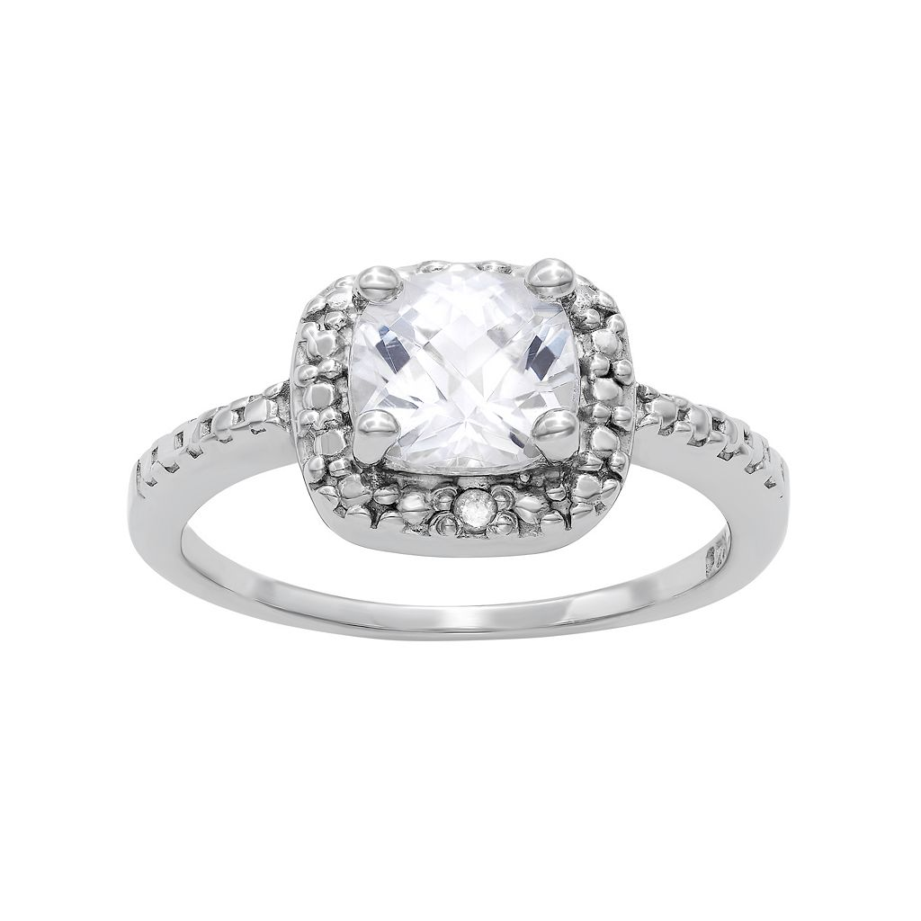 Sterling Silver Lab-Created White Sapphire & Diamond Accent Square Halo Ring