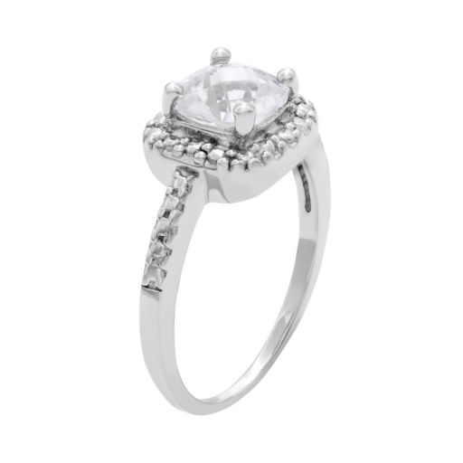 Sterling Silver Lab-Created White Sapphire and Diamond Accent Square Halo Ring