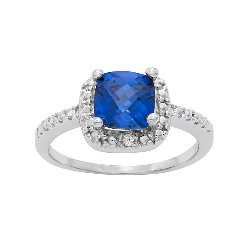 Sterling Silver Lab-Created Sapphire & Diamond Accent Square Halo Ring