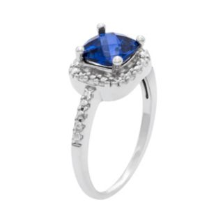Sterling Silver Lab-Created Sapphire and Diamond Accent Square Halo Ring
