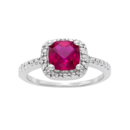 Sterling Silver Lab-Created Ruby and Diamond Accent Square Halo Ring
