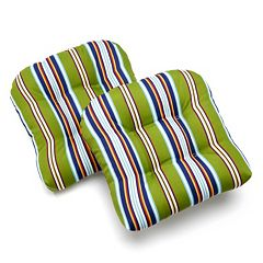 Edie Inc. Classic Stripe Indoor Outdoor 2 pkContour Chair Pads