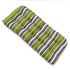 Edie Inc. Classic Stripe Indoor Outdoor Contour Bench Cushion