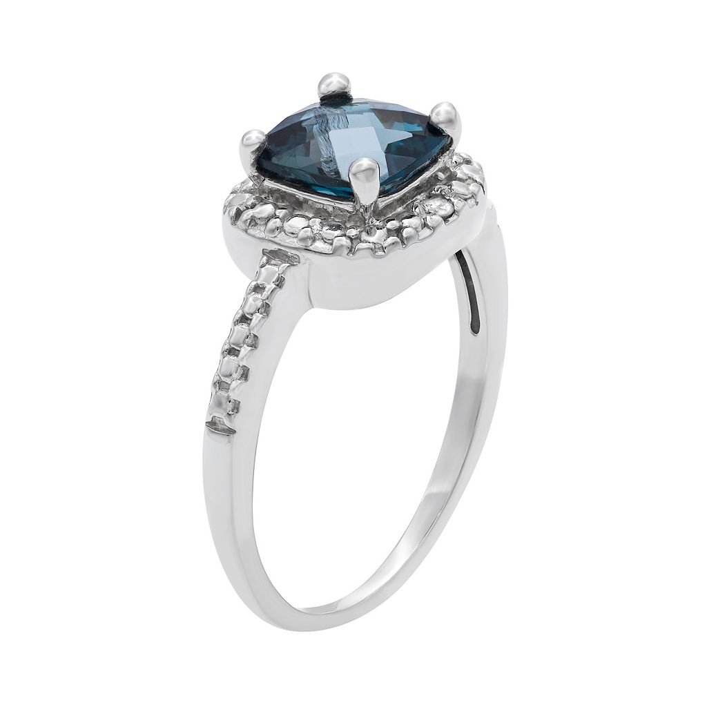 Sterling Silver London Blue Topaz Square Halo Ring