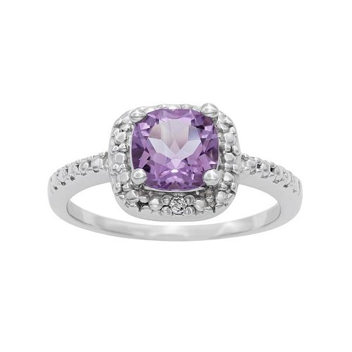 Sterling Silver Amethyst & Diamond Accent Square Halo Ring