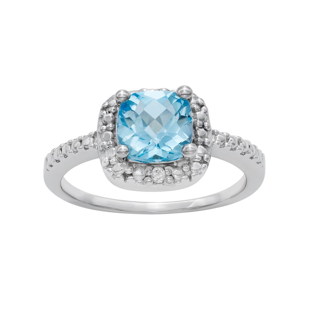 Sterling Silver Blue Topaz Square Halo Ring