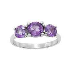 Sterling Silver Amethyst 3-Stone Ring