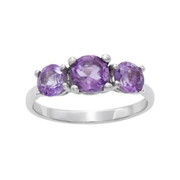 Sterling Silver Amethyst 3-Stone Ring