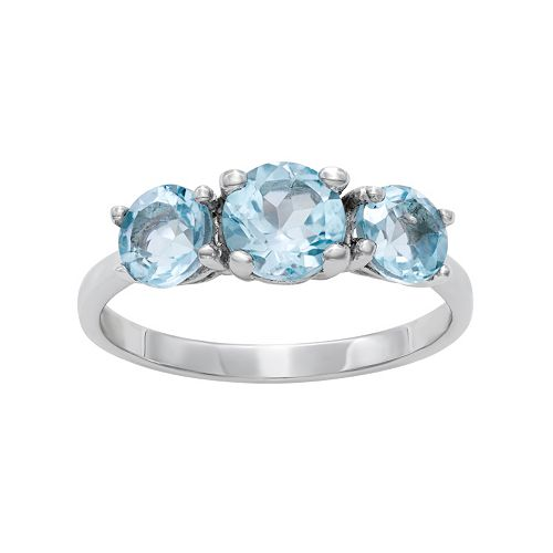 Sterling Silver Blue Topaz 3-Stone Ring
