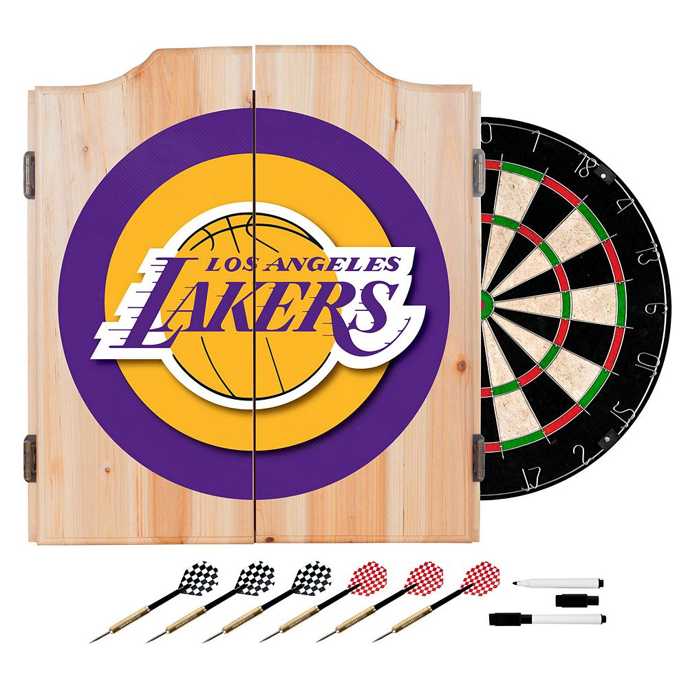Los Angeles Lakers Wood Dart Cabinet Set