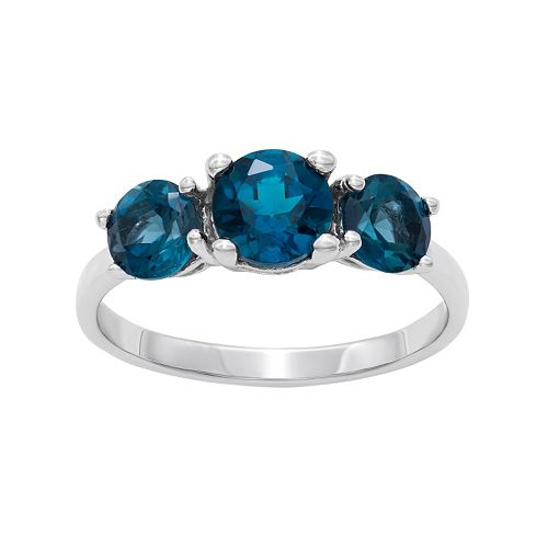 Sterling Silver London Blue Topaz 3-Stone Ring