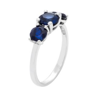 Sterling Silver Lab-Created Sapphire 3-Stone Ring