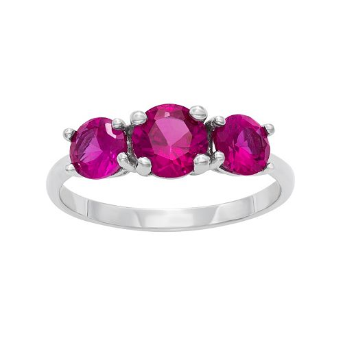 Sterling Silver Lab-Created Ruby 3-Stone Ring