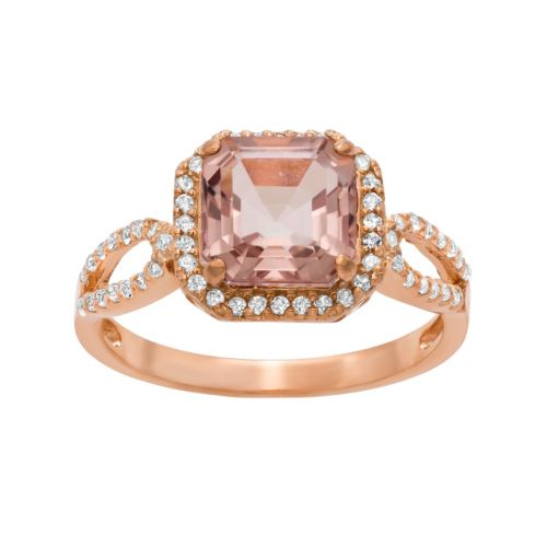 14k Rose Gold Over Silver Morganite Triplet and Lab-Created White Sapphire Halo Ring