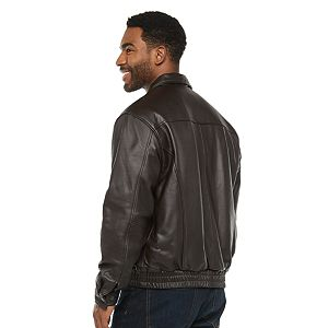 Men's Vintage Leather Banded Bottom Jacket