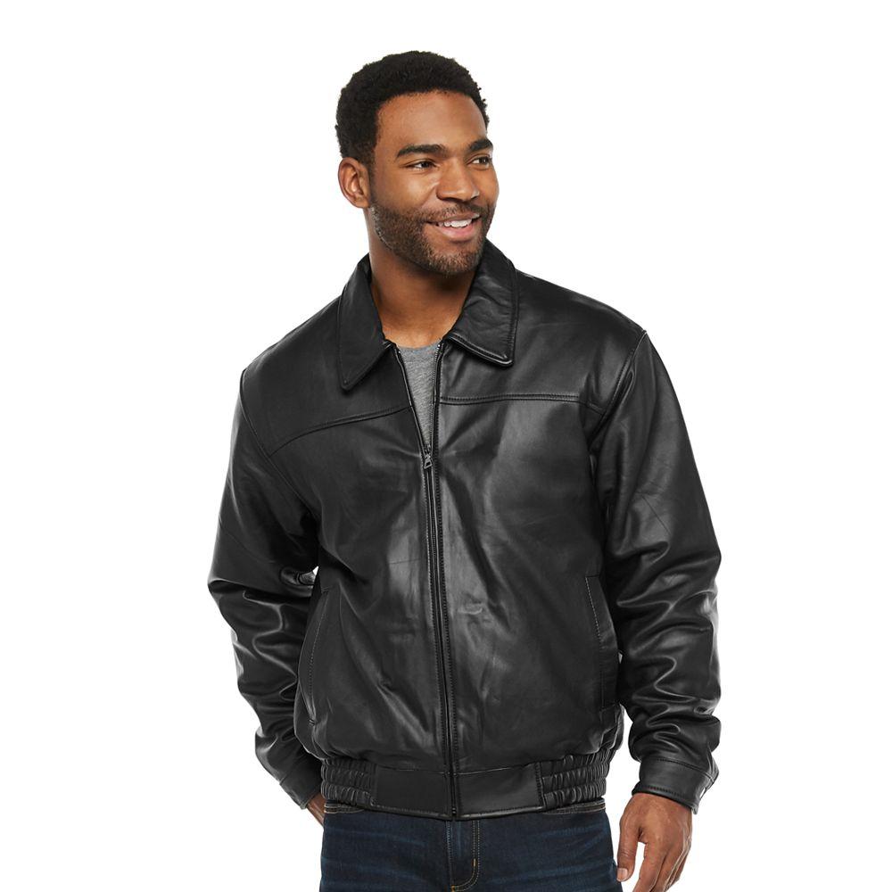 Men's Vintage Leather Banded Bottom Jacket