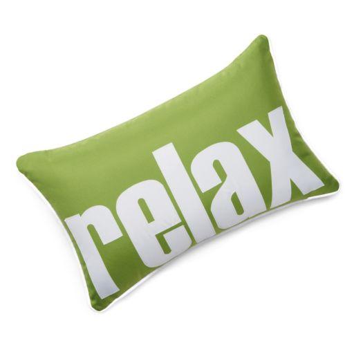 "Edie Inc. ""Relax"" Laser-Cut Indoor Outdoor Decorative Pillow"
