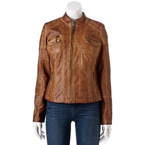 aaf1ef623 J2 by Jou Jou Garment-Dyed Faux-Leather Moto Jacket - Juniors