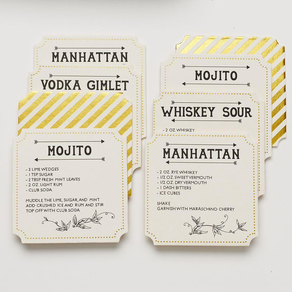 Food Network™ 8-pc. Cocktail Recipe Holiday Pub Coaster Set