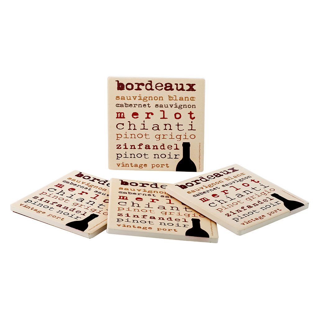 Food Network™ 4-pc. Wine Typography Coaster Set