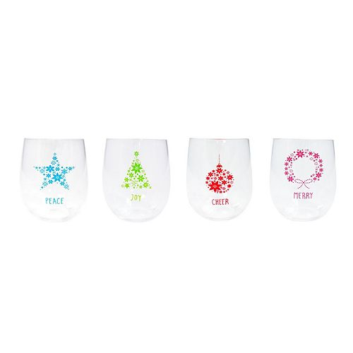 Food Network™ Holiday 4-pc. Stemless Wine Glass Set