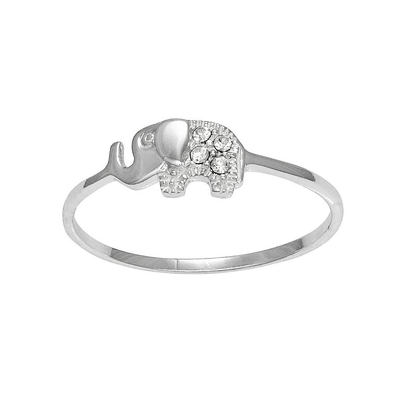 Itsy Bitsy Sterling Silver Crystal Elephant Ring