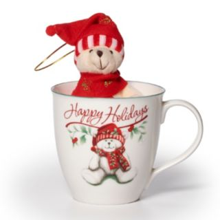 "Pfaltzgraff Winterberry ""Happy Holiday"" Mug & Stuffed Bear Set"