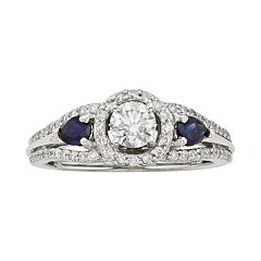 IGL Certified Diamond & Sapphire Halo Engagement Ring in 14k White & Rose Gold (3/4 ct. T.W.)