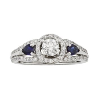 IGL Certified Diamond and Sapphire Halo Engagement Ring in 14k White and Rose Gold (3/4 ct. T.W.)
