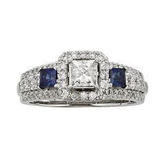IGL Certified Diamond & Sapphire Square Halo Engagement Ring in 14k White & Rose Gold (1 ct. T.W.)