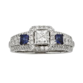 IGL Certified Diamond and Sapphire Square Halo Engagement Ring in 14k White and Rose Gold (1 ct. T.W.)