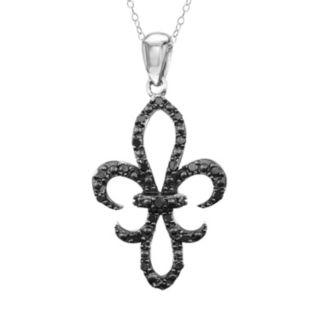 Stella Grace Sterling Silver 1/4-ct. T.W. Black Diamond Fleur-de-Lis Pendant