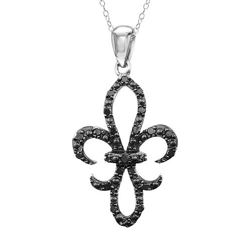 Sterling Silver 1/4-ct. T.W. Black Diamond Fleur-de-Lis Pendant