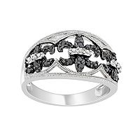 Sterling Silver 1/4-ct. T.W. Black & White Diamond Fleur-de-Lis Ring