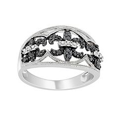 Sterling Silver 1/4 ctT.W. Black & White Diamond Fleur-de-Lis Ring