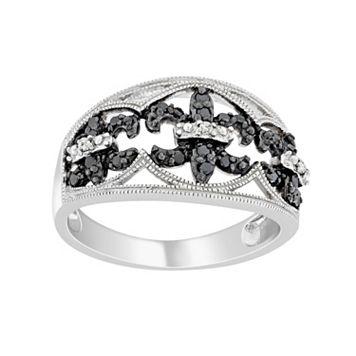 Sterling Silver 1/4-ct. T.W. Black & White Diamond Fleur-de-Lis Ring