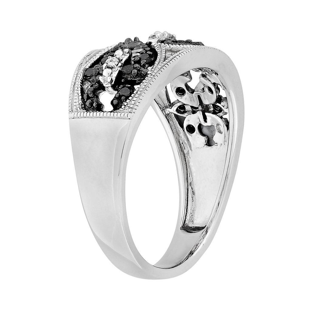 Sterling Silver 1/4-ct. T.W. Black and White Diamond Fleur-de-Lis Ring
