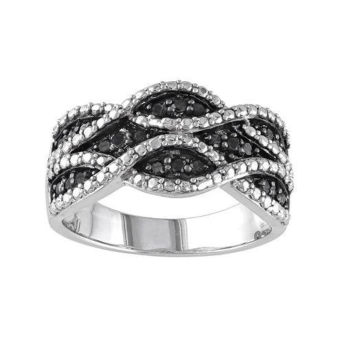 Stella Grace Sterling Silver .22-ct. T.W. Black Diamond Woven Ring